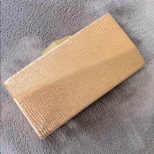 ROSE GOLD metallic rhinestone clutch purse chain